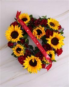 flowers:  Sunflower And Rose Heart Wreath Arrangement!