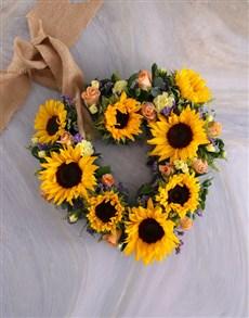 flowers:  Sunflower Wreath Arrangement Surprise Gift!