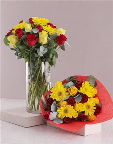 flowers: Radiant Red and Yellow Mixed Flowers!
