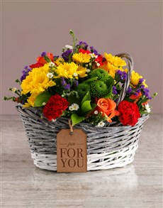 gifts: Mixed Flowers In Willow Basket!