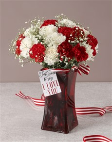 flowers: Mesmerising Mixed Carnations in a Red Vase!
