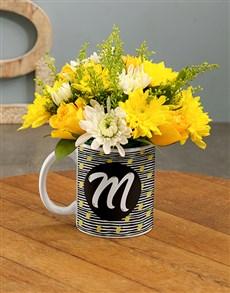 flowers: Personalised Initial Flowers In Mug!