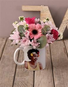flowers: Personalised Cerise Roses In Happy Day Mug!
