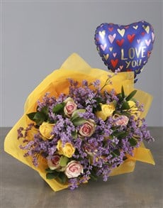 gifts: Pink and Yellow Roses with Love You Balloon!