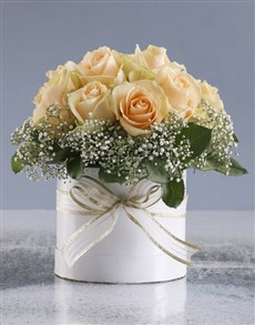 flowers: Peach Roses In White Round Box!