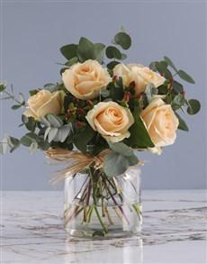flowers: Peach Roses In Regent Glass Vase!