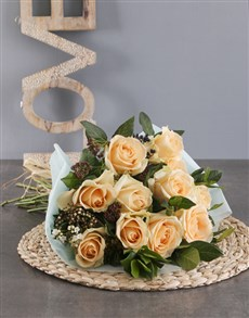 flowers: Peach Roses In Aqua Wrapping!