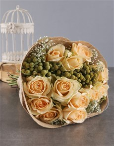 flowers: Peach Roses In Hessian Wrapping!