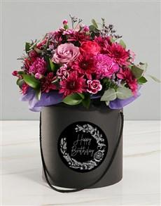 flowers: Happy Birthday Pink Floral Mix Black Hat Box!