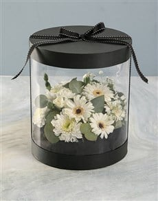 gifts: Mixed White Thank You Flowers in Clear Case!