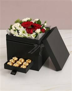 flowers: Love You Mixed Flower Box With Secret Drawer!