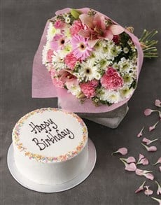 flowers: Pink Pastel Bouquet And Sponge Cake!
