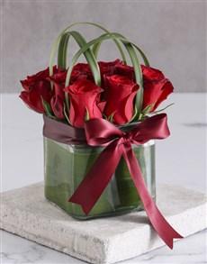 flowers: Elegant Red Roses In Clear Square Vase!
