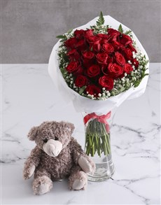 flowers: Divine Red Roses With Teddy Bear!