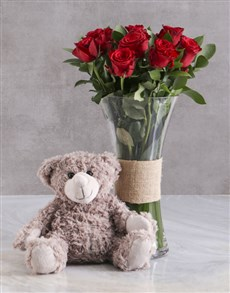 gifts: Love Grow Red Roses With Brown Teddy Bear!