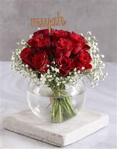 flowers: Smooch Red Roses In Fish Bowl!