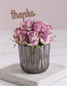 gifts: Thank You Lilac Roses In Bronze Vase!