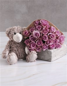 gifts: Lilac Roses With Teddy Bear!