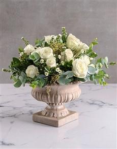 flowers: White Roses In Stone Vase!
