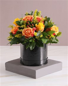 flowers: Cherry Brandy and Yellow Mixed Roses!