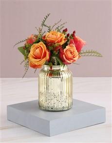flowers: Cherry Brandy Roses in Glowing Vase!