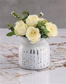 gifts: White Roses In Grey Vase!