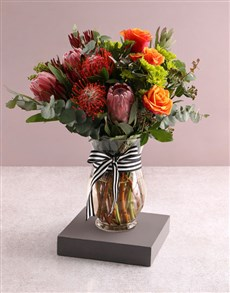 flowers: Royal Red and Pincushion Protea Display!
