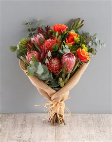 gifts: Regal Red and Pincushion Protea Bouquet!