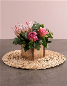 flowers: Pink Protea and Rose Arrangement!
