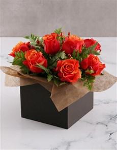 flowers: Cherry Brandy Roses in Black Box!