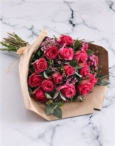 flowers: Cerise Roses In Brown Paper Wrapping!