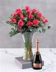 flowers: Cerise Roses In Clear Vase!