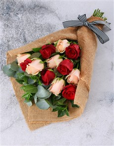 flowers: Magical Mixed Roses in Hessian Wrapping!