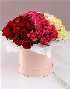 flowers: Mixed Roses in Pink Hat Box!