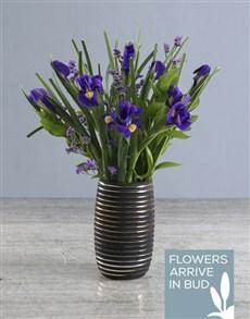 flowers: Purple Irises In Rippled Vase!