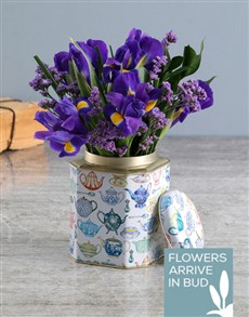 flowers: Purple Irises In Tea Tin!