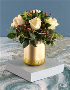 flowers: Cream Roses with Hypericum in Gold Jar!