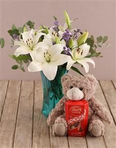 flowers: White Asiflorum Lilies in Blue Vase!
