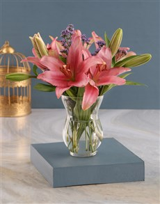 flowers: Pretty Pink Lilies in a Hurricane!