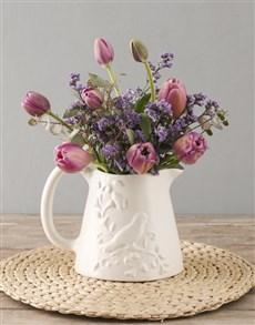 flowers: Purple Tulips In Birdie Jug!
