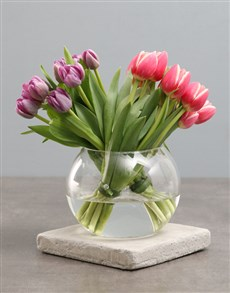 flowers: Purple And Pink Tulips In Fish Bowl Vase!