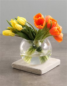 flowers: Yellow And Orange Tulips In Fish Bowl Vase!
