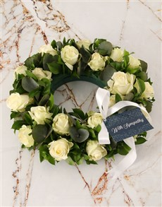 flowers: White Roses Sympathy Wreath!