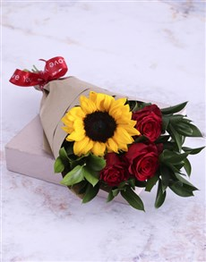 flowers: Red Rose and Sunshine Bouquet!