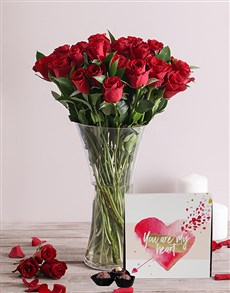 flowers: Romantic Red Roses and Chocolates!