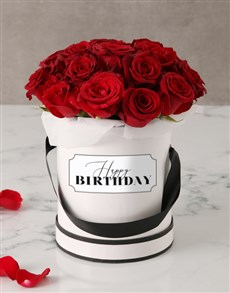 flowers: Red Roses in Birthday Hat Box!