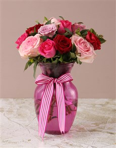 gifts: Mixed Pink Roses in Pink Vase!