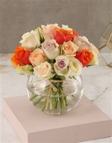 flowers: Mixed Pastel Rose Arrangement!