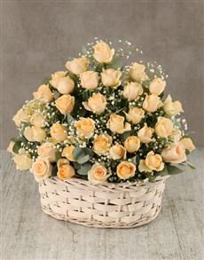 flowers: Cream Roses in Wicker Basket!