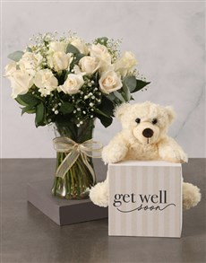 flowers: Cream Roses with Plush Bear and Nougat!